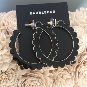 Baublebar Black/Gold Scallop Hoop Earrings EUC